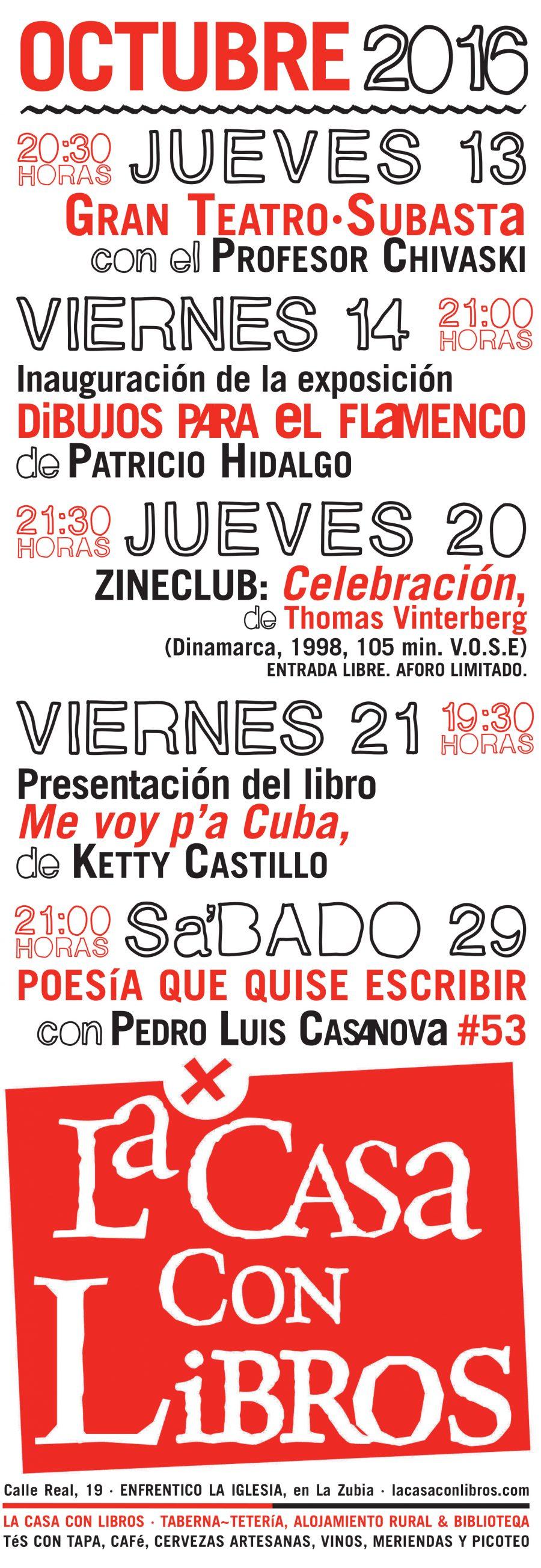 OCTUBRE 2016 en La Casa Con Libros