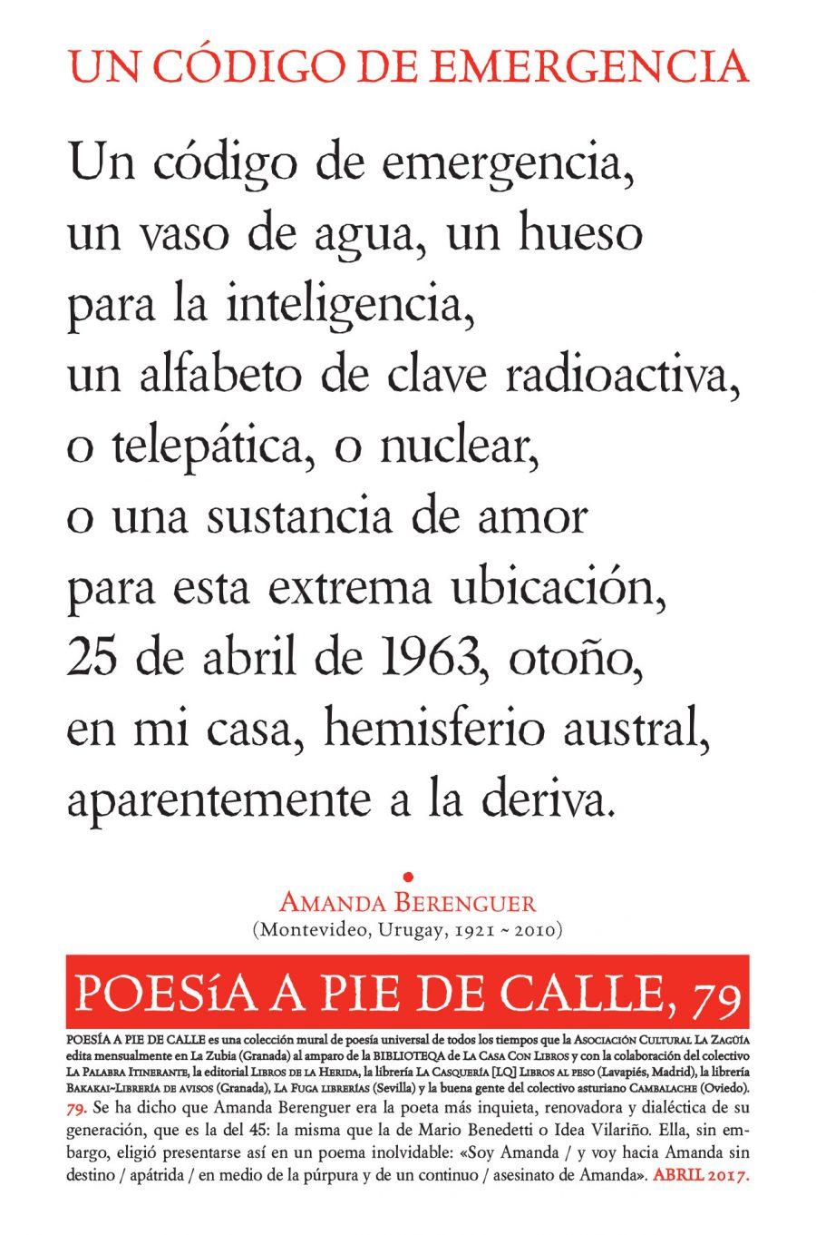 """POESÍA A PIE DE CALLE, 79: """"Un código de emergencia"""", de AMANDA BERENGUER"""