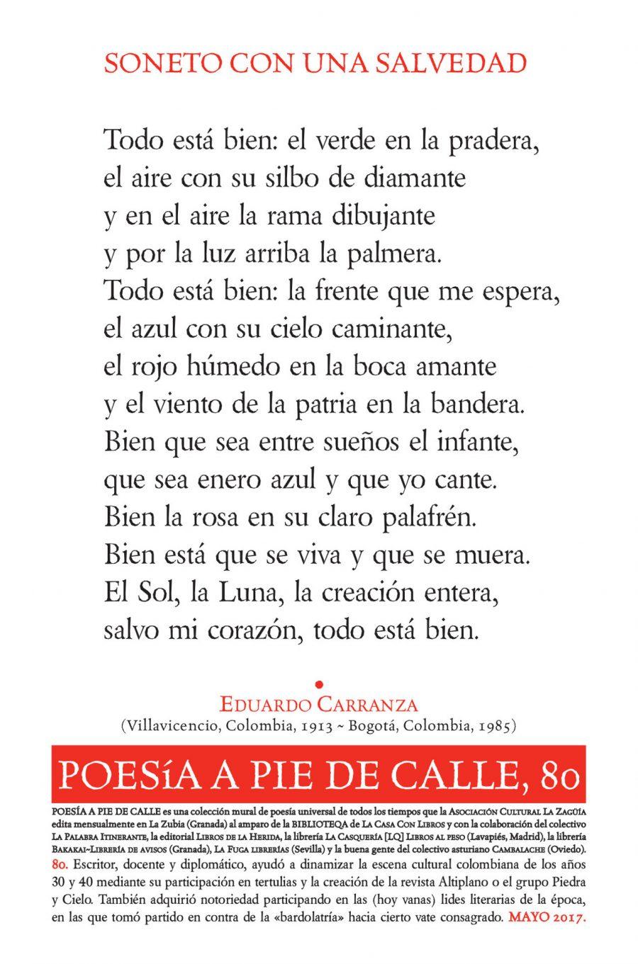 """POESÍA A PIE DE CALLE, 80: """"SONETO CON UNA SALVEDAD"""", DE EDUARDO CARRANZA"""