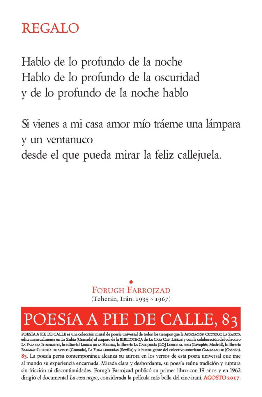 """POESÍA A PIE DE CALLE, 83: """"Regalo"""",de FORUGH FARROJZAD"""