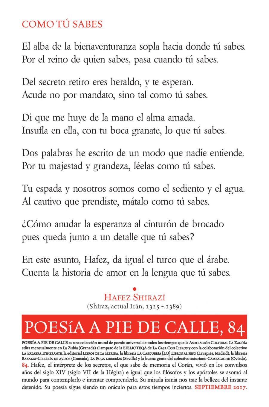 """POESÍA A PIE DE CALLE, 84: """"COMO TÚ SABES"""",DE HAFEZ SHIRAZÍ"""
