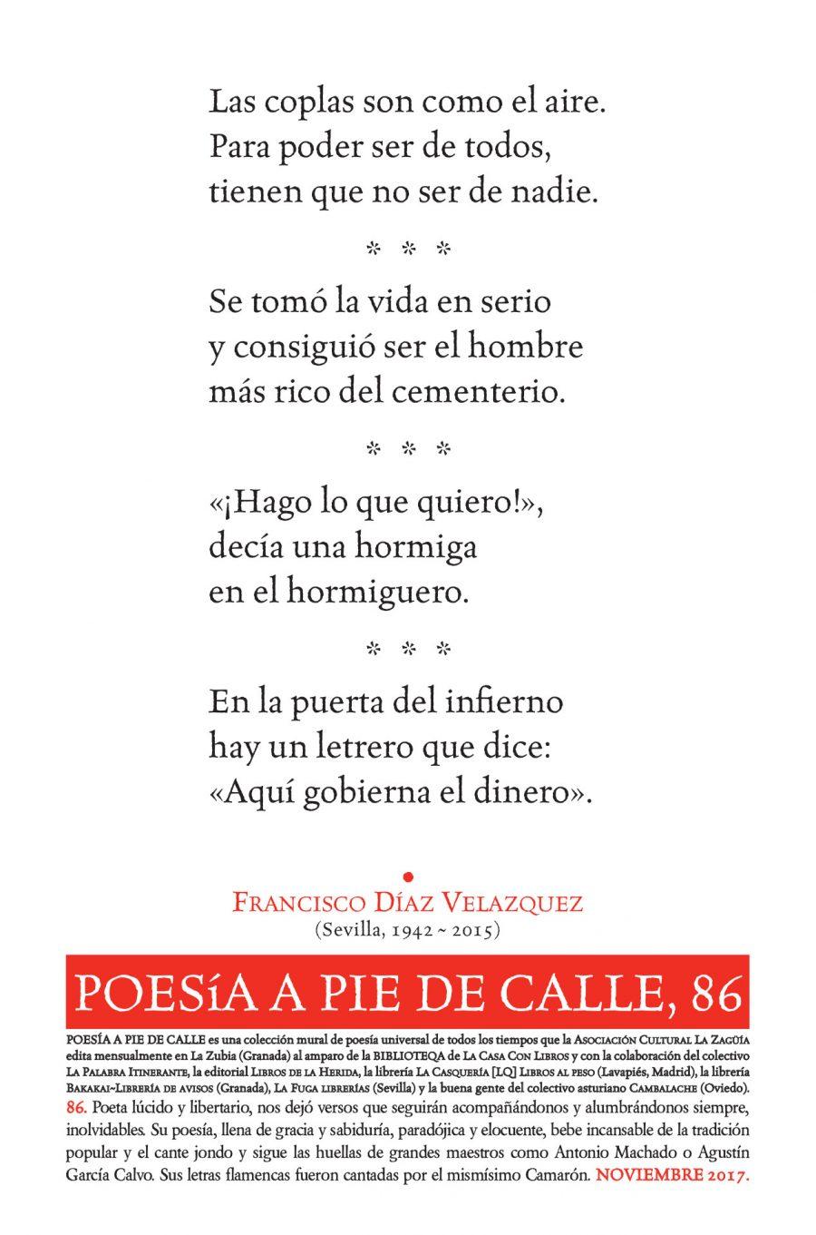 POESÍA A PIE DE CALLE, 86: CUATRO COPLAS DE FRANCISCO DÍAZ VELÁZQUEZ