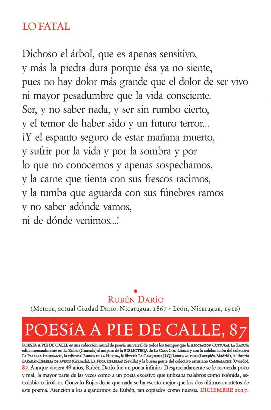 POESÍA A PIE DE CALLE, 87: LO FATAL DE RUBÉN DARÍO