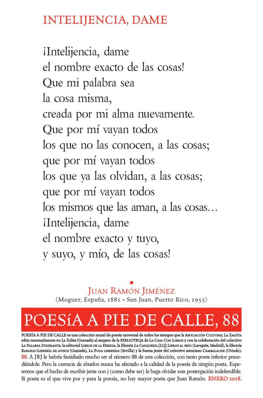 POESÍA A PIE DE CALLE, 88: INTELIJENCIA, DAME, DE JUAN RAMÓN JIMÉNEZ