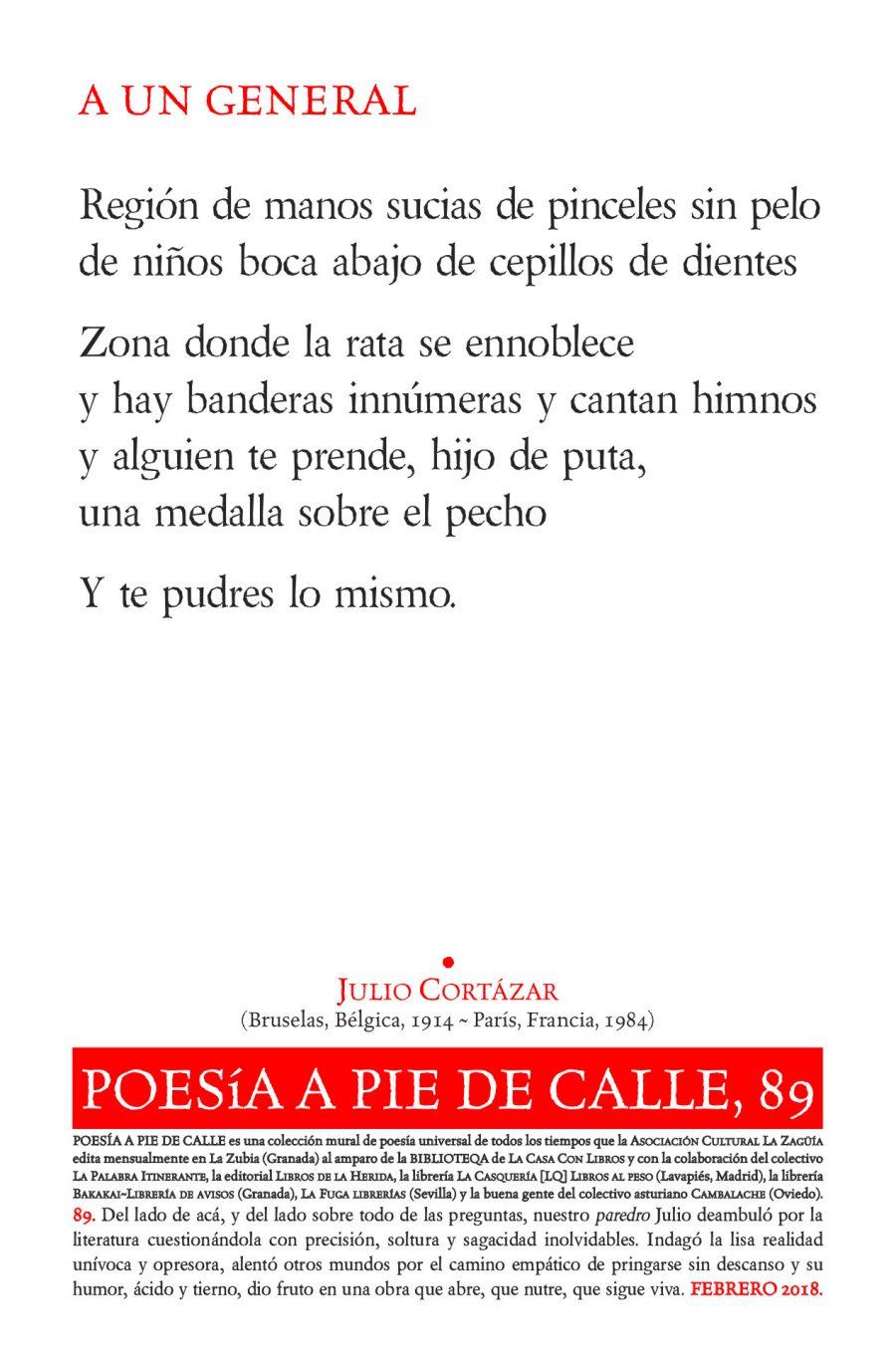 POESÍA A PIE DE CALLE, 89: A UN GENERAL, DE JULIO CORTÁZAR