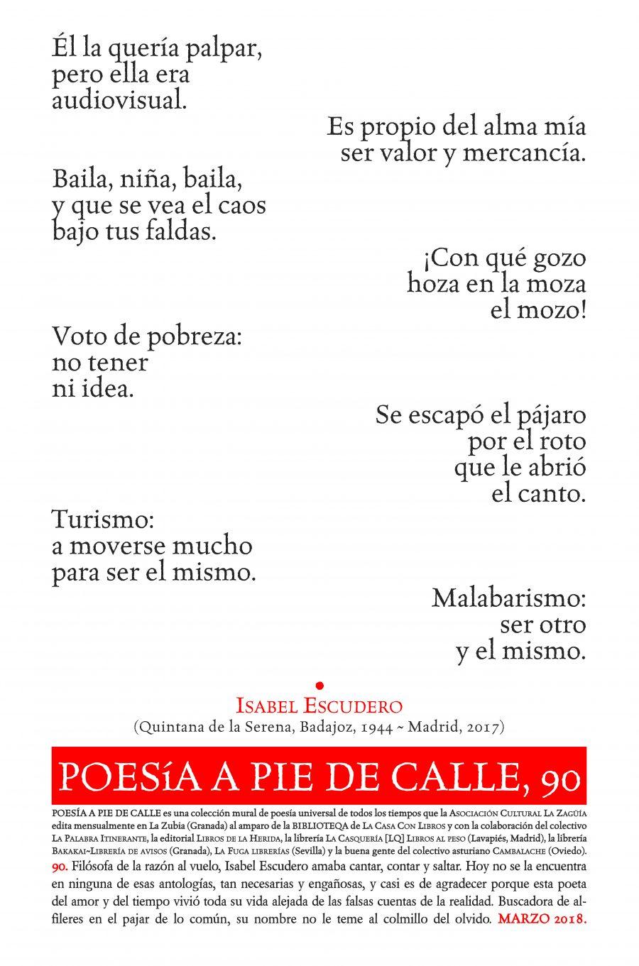 POESÍA A PIE DE CALLE, 90: Coplas libertarias, de Isabel Escudero