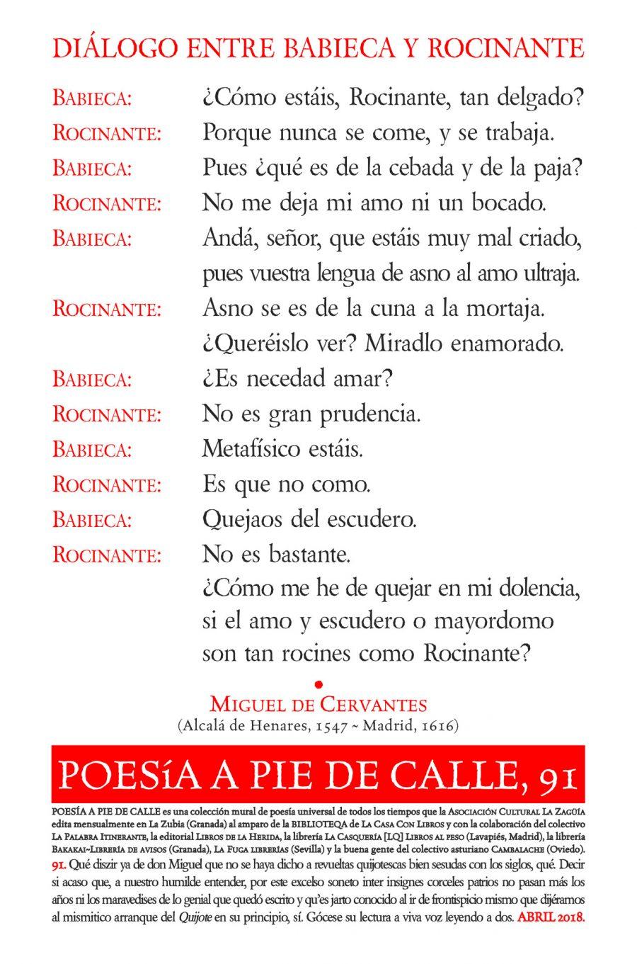 POESÍA A PIE DE CALLE, 91: Diálogo entre Babieca y Rocinante, de Miguel de Cervantes