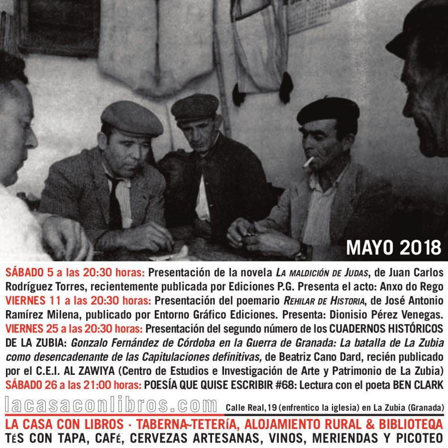 MAYO 2018 EN LA CASA CON LIBROS: AGENDA DE ACTIVIDADES