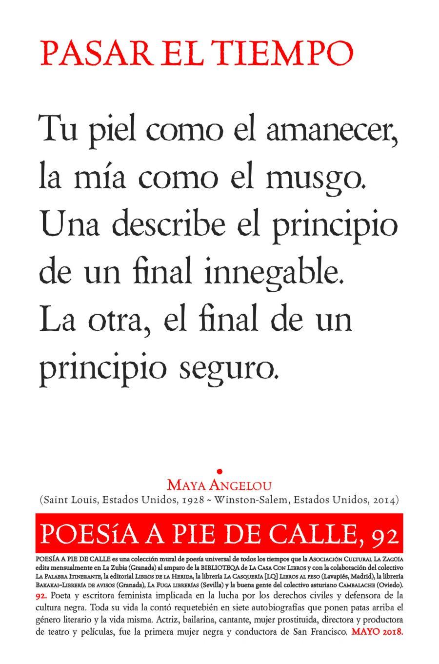 POESÍA A PIE DE CALLE, 92: PASAR EL TIEMPO, DE MAYA ANGELOU