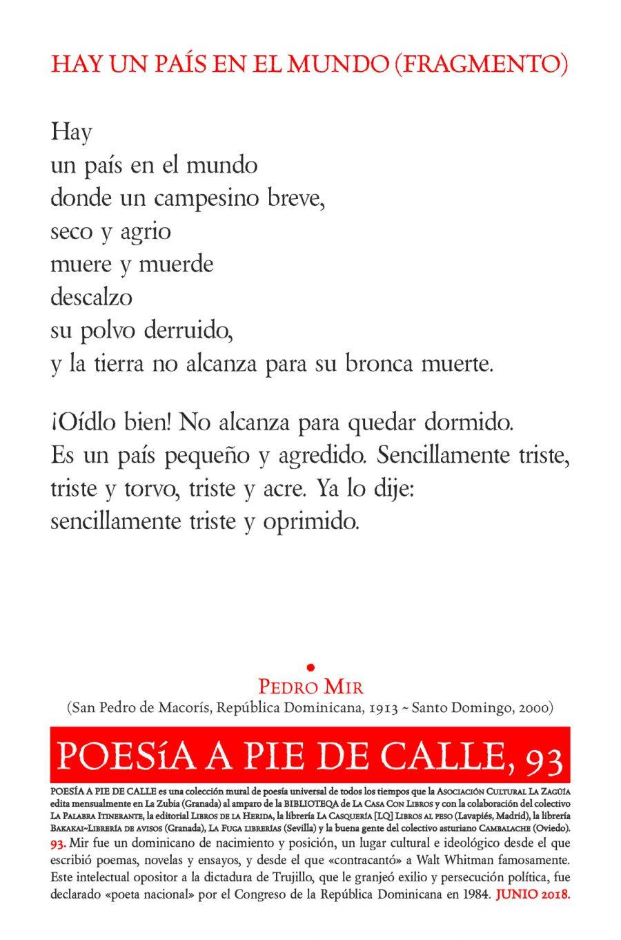 POESÍA A PIE DE CALLE, 93: HAY UN PAÍS EN EL MUNDO (FRAGMENTO), DE PEDRO MIR