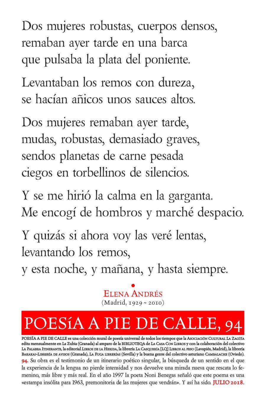 POESÍA A PIE DE CALLE, 94: «DOS MUJERES ROBUSTAS, CUERPOS DENSOS…», DE ELENA ANDRÉS