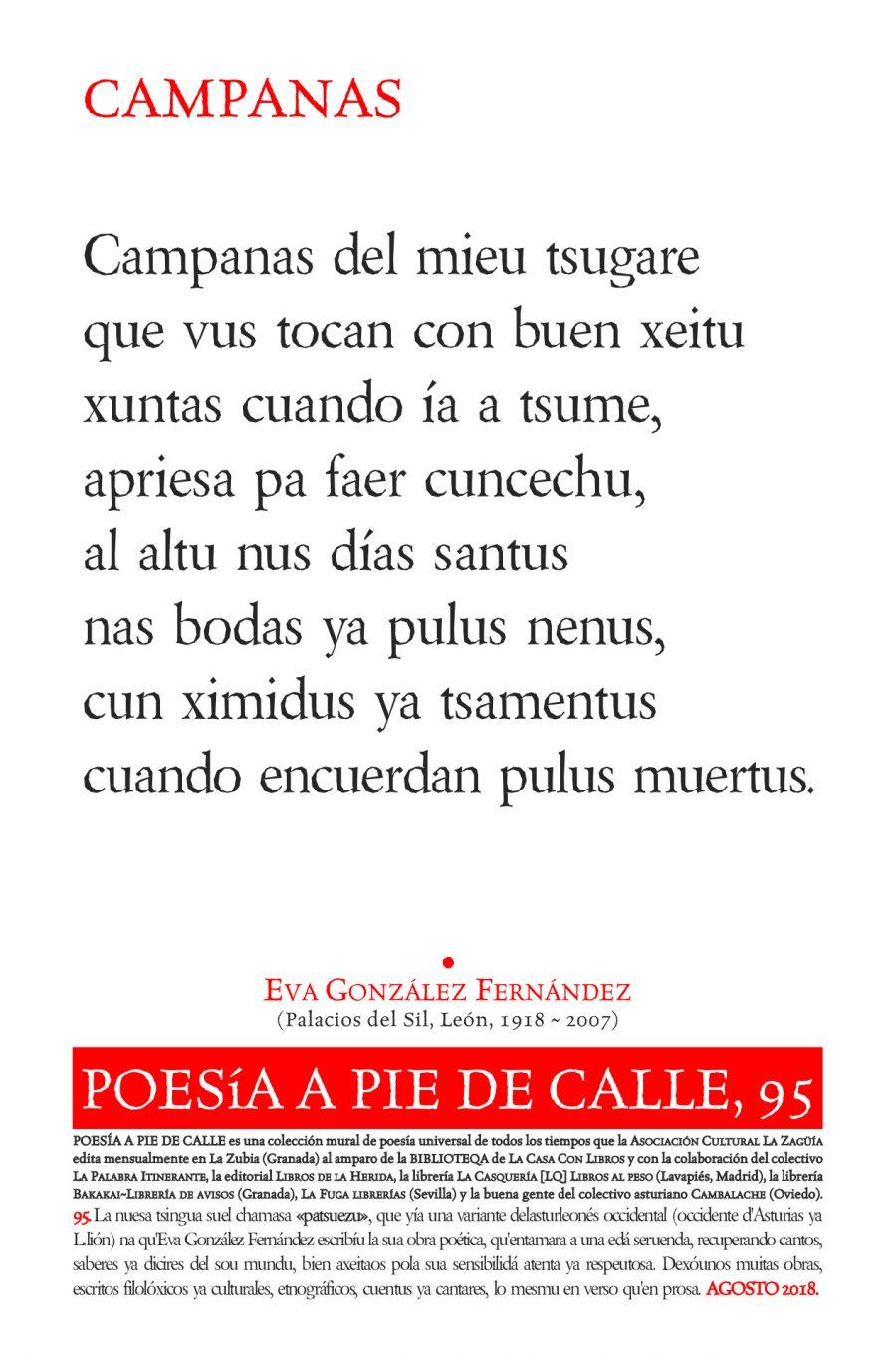 POESÍA A PIE DE CALLE, 95: CAMPANAS, DE EVA GONZÁLEZ FERNÁNDEZ