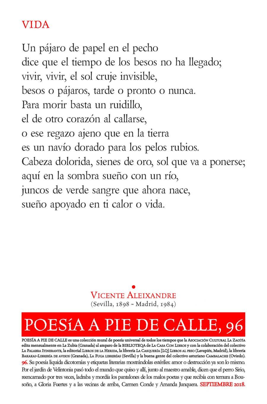POESÍA A PIE DE CALLE, 96: VIDA, DE VICENTE ALEIXANDRE