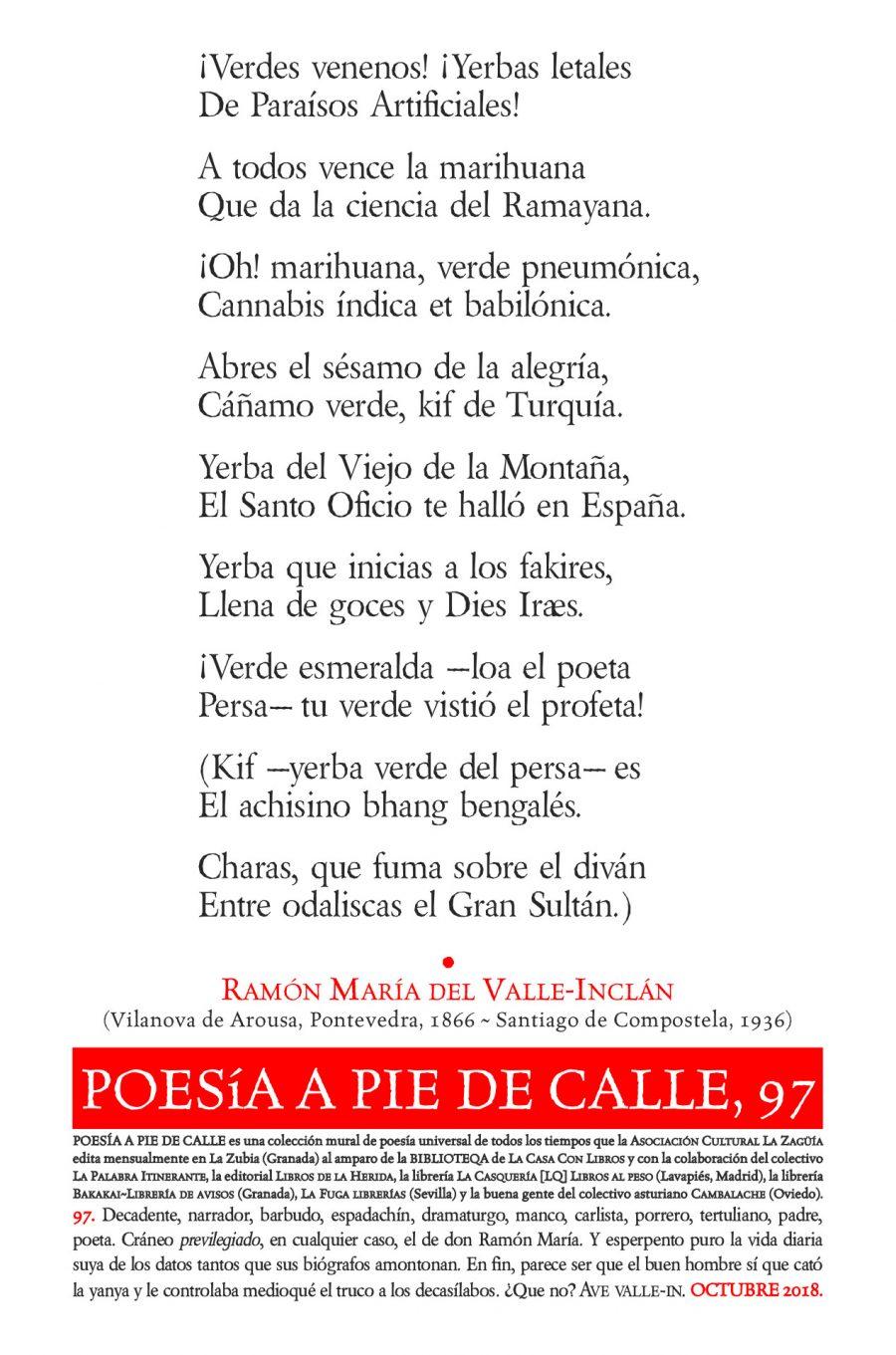 POESÍA A PIE DE CALLE, 97: «¡VERDES VENENOS! ¡YERBAS LETALES…», DE RAMÓN MARÍA DEL VALLE-INCLÁN