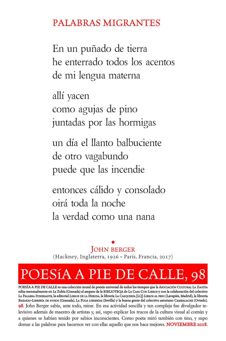 POESÍA A PIE DE CALLE, 98: PALABRAS MIGRANTES, DE JOHN BERGER
