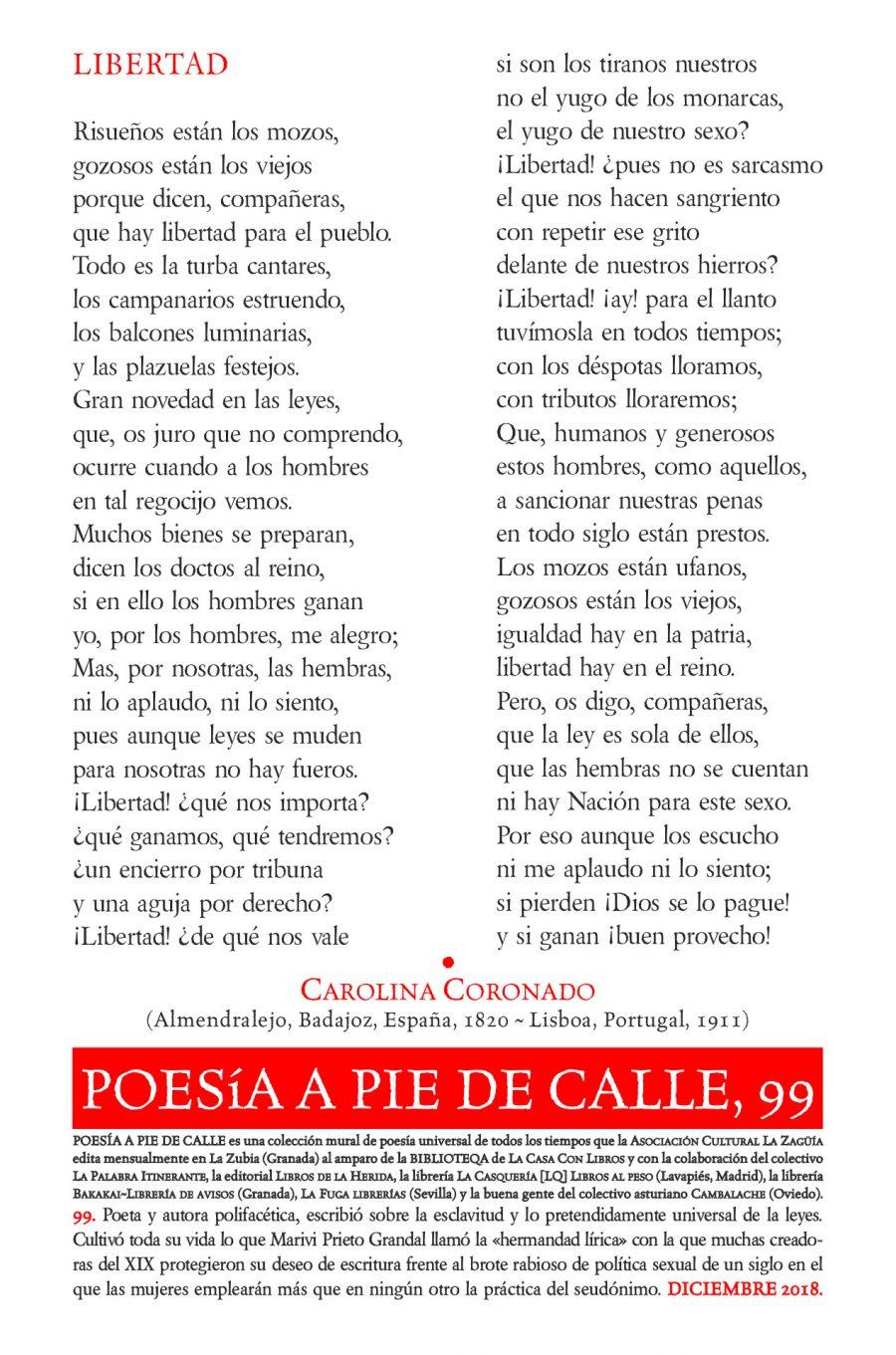 POESÍA A PIE DE CALLE, 99: LIBERTAD, DE CAROLINA CORONADO